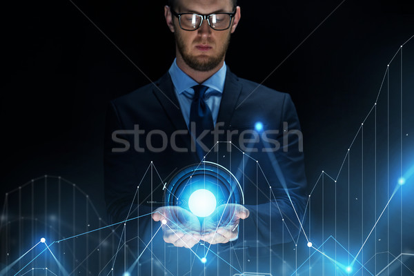 üzletember virtuális diagram diagram vetítés üzlet Stock fotó © dolgachov