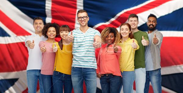 Emberek mutat remek angol zászló diverzitás verseny Stock fotó © dolgachov