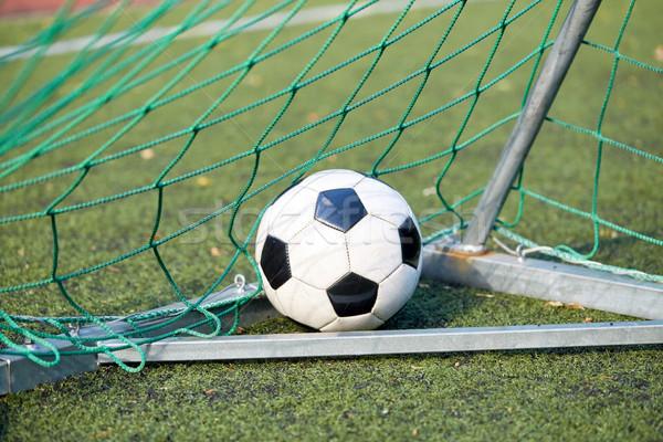 Stok fotoğraf: Futbol · topu · gol · net · futbol · sahası · spor · futbol