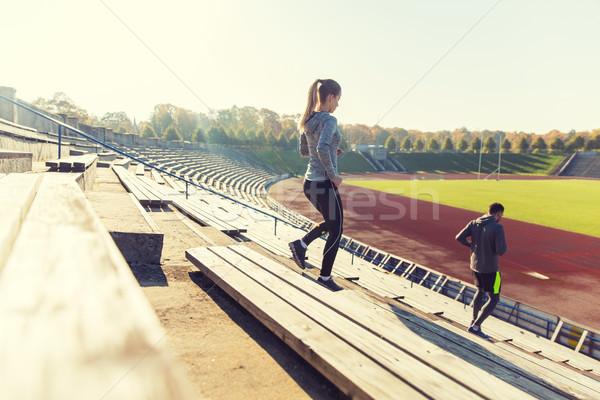 çift çalışma stadyum uygunluk spor egzersiz Stok fotoğraf © dolgachov