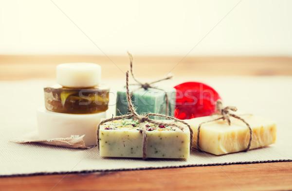Hecho a mano jabón bares madera Foto stock © dolgachov
