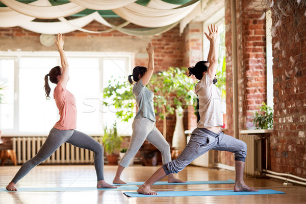 Grupo de personas yoga guerrero plantean estudio fitness Foto stock © dolgachov
