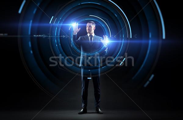 Zakenman pak virtueel projectie business realiteit Stockfoto © dolgachov