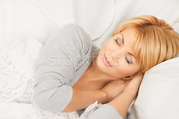 Alszik nő fényes közelkép kép női arc Stock fotó © dolgachov