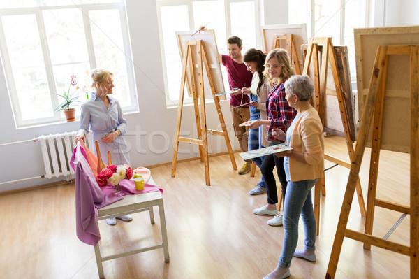 öğrenciler öğretmen Natürmort Sanat Okul Boyama Stok