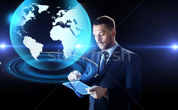 ビジネスマン 地球 ホログラム ビジネスの方々  将来 ストックフォト © dolgachov