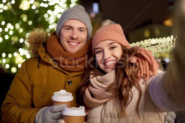 пару кофе Рождества зима праздников Сток-фото © dolgachov