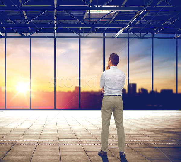 businessman thinking over office and city view Stock photo © dolgachov