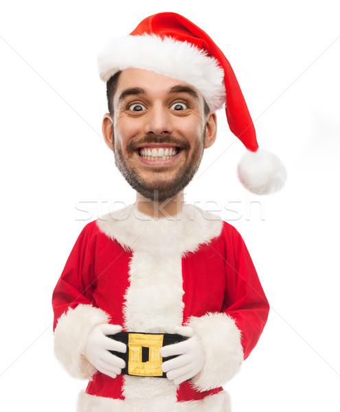 Man kostuum grappig gezicht witte christmas Stockfoto © dolgachov
