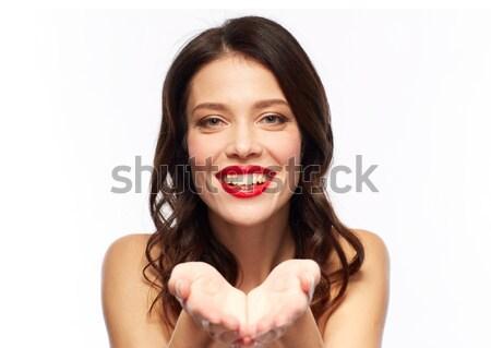 美しい 笑みを浮かべて 若い女性 赤い口紅 美 を構成する ストックフォト © dolgachov