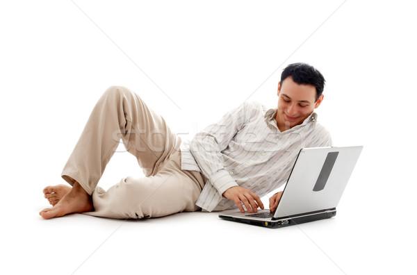 Homme portable ordinateur portable blanche affaires Photo stock © dolgachov