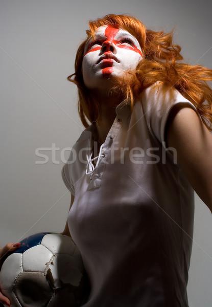 Güven İngilizce futbol makyaj kız Stok fotoğraf © dolgachov