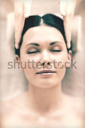 Felső kalap kép csábító hölgy fehér Stock fotó © dolgachov