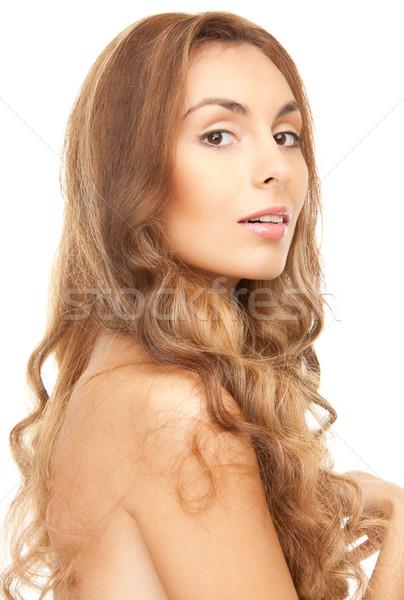 Hermosa top-less mujer pelo largo brillante Foto Foto stock © dolgachov