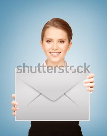 woman with blank board Stock photo © dolgachov