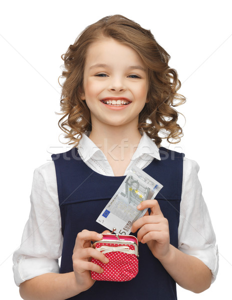 Lány pénztárca papír pénz kép gyönyörű lány Stock fotó © dolgachov