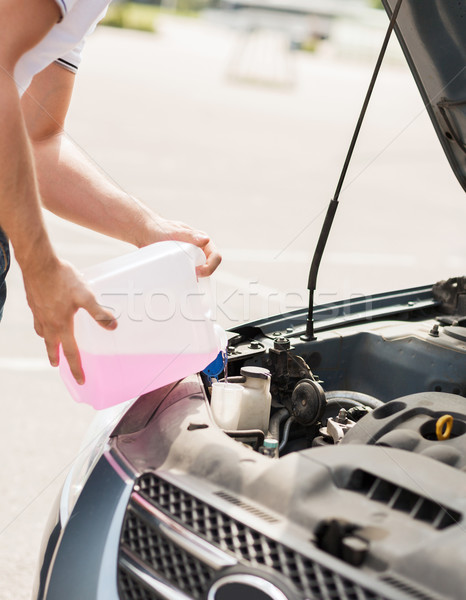 man filling windscreen water tank Stock photo © dolgachov