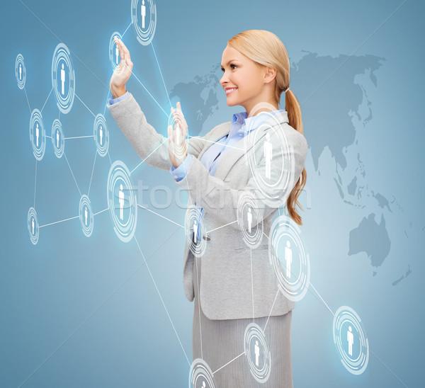 Mosolyog üzletasszony dolgozik virtuális képernyő üzlet Stock fotó © dolgachov