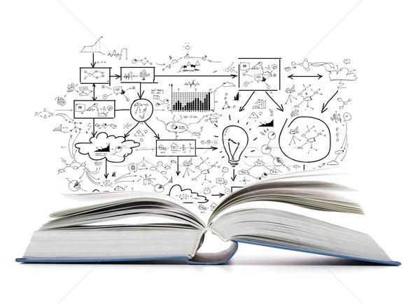 Nyitott könyv asztal oktatás könyv iskola olvas Stock fotó © dolgachov
