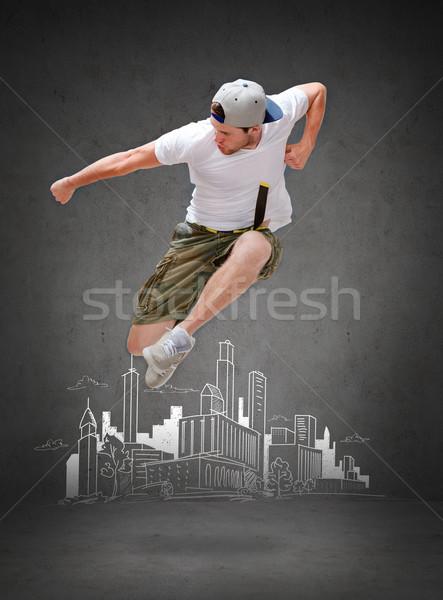 Stok fotoğraf: Erkek · dansçı · atlama · hava · dans · mutluluk