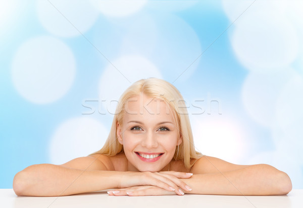 clean face and shoulders of beautiful young woman Stock photo © dolgachov