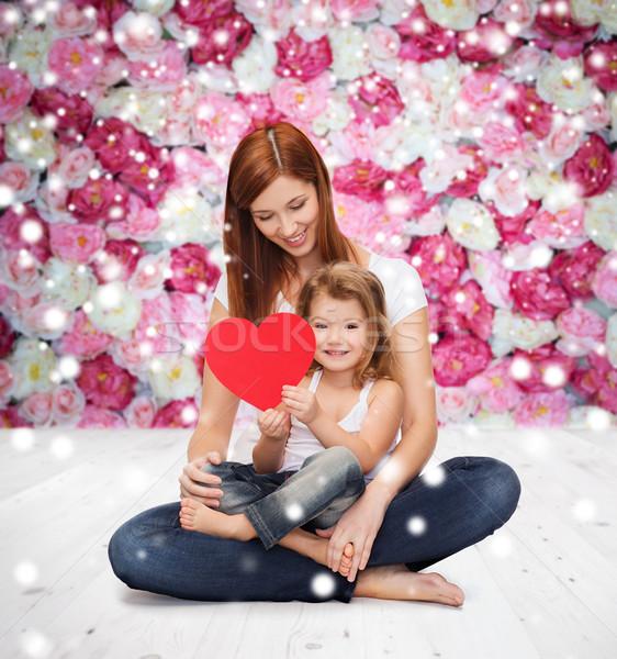 Boldog anya imádnivaló kislány szív gyermekkor Stock fotó © dolgachov