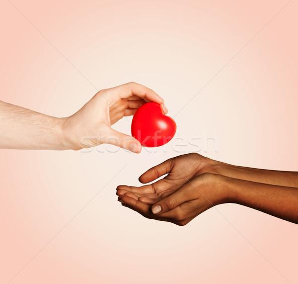 ストックフォト: 女性 · 男 · 手 · 赤 · 中心 · 愛