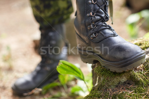 close up of soldier feet with army boots in forest Stock photo © dolgachov