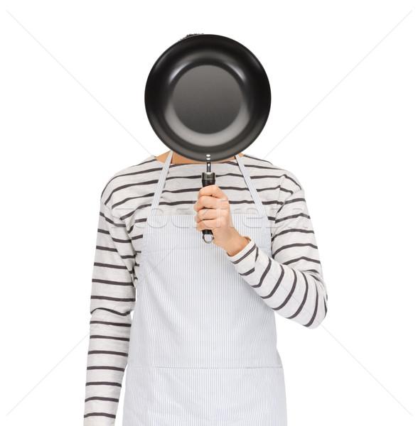 Homem cozinhar avental ocultação cara atrás Foto stock © dolgachov