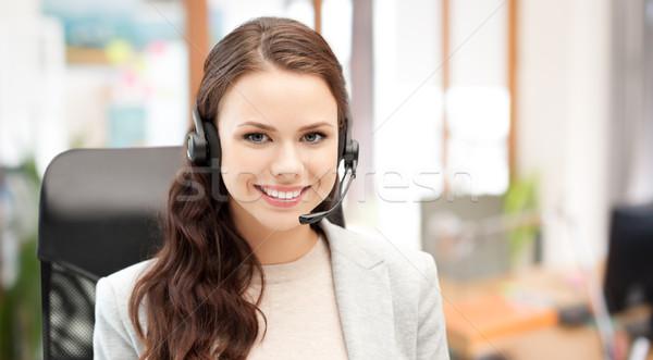Sonriendo femenino línea de ayuda operador auricular personas Foto stock © dolgachov