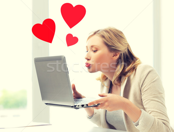 Stock fotó: Nő · küldés · laptop · számítógép · virtuális · kapcsolatok · online
