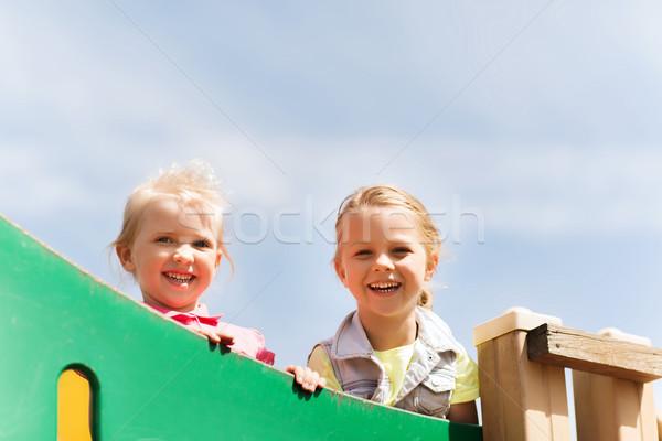 Boldog kislányok gyerekek játszótér nyár gyermekkor Stock fotó © dolgachov