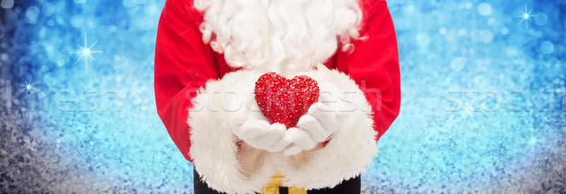 close up of santa claus with heart shape Stock photo © dolgachov