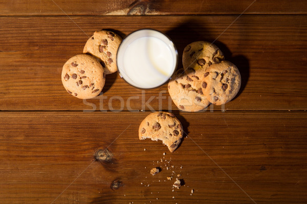 close up of oat cookies and milk on wooden table Stock photo © dolgachov