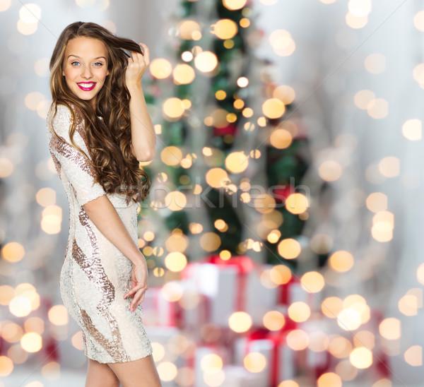 Stok fotoğraf: Mutlu · kadın · genç · kız · Noel · ışıklar · insanlar