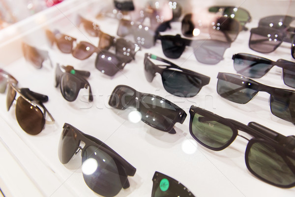 close up of sunglasses at optician Stock photo © dolgachov