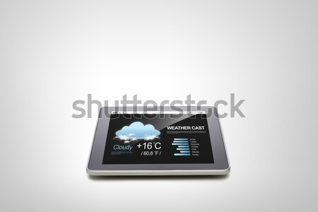 tablet pc with weather forecast and cup of coffee Stock photo © dolgachov