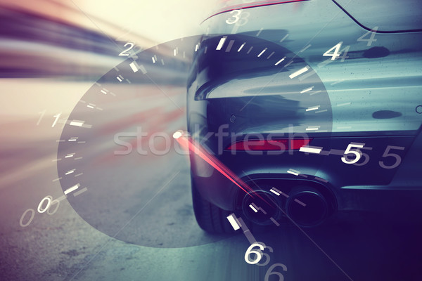close up of car racing on speedway track from back Stock photo © dolgachov