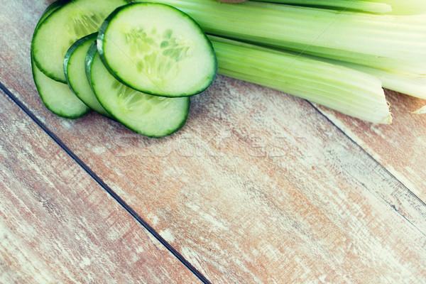Cetriolo fette sedano dieta vegetali Foto d'archivio © dolgachov