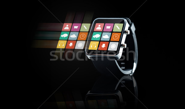 close up of black smart watch with app icons Stock photo © dolgachov