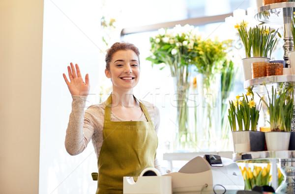 笑みを浮かべて 花屋 女性 花屋 人 ジェスチャー ストックフォト © dolgachov