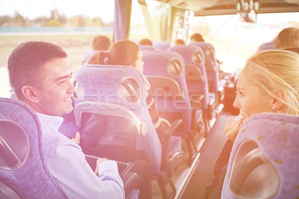 Csoport boldog utasok utazás busz szállítás Stock fotó © dolgachov