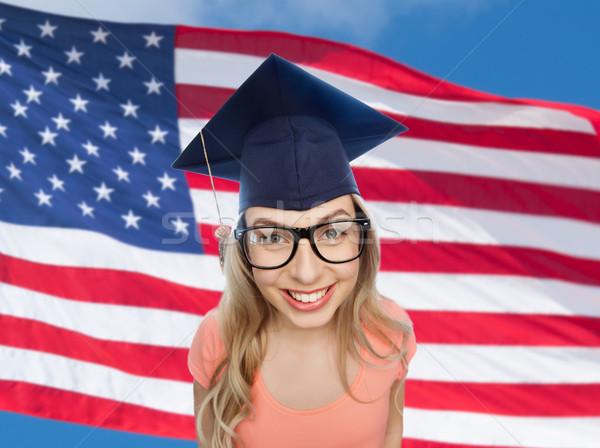 Mosolyog fiatal diák nő emberek érettségi Stock fotó © dolgachov