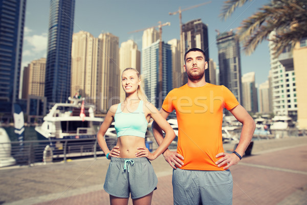 Stock fotó: Pár · testmozgás · Dubai · város · fitnessz · sport