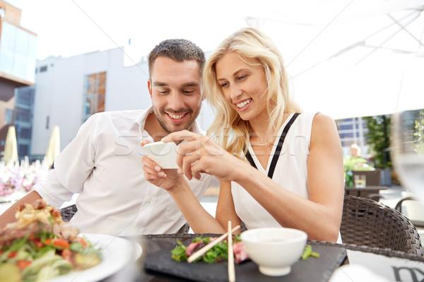 幸せ カップル レストラン テラス 愛 日付 ストックフォト © dolgachov