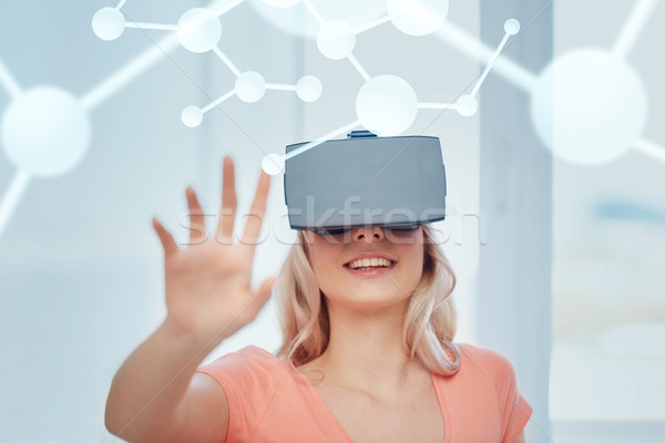 woman in virtual reality headset or 3d glasses Stock photo © dolgachov
