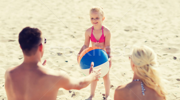 счастливая семья играет надувной мяча пляж семьи Сток-фото © dolgachov