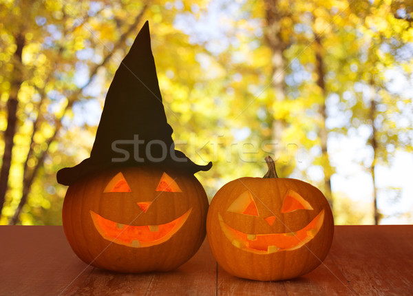 close up of pumpkins on table outdoors Stock photo © dolgachov
