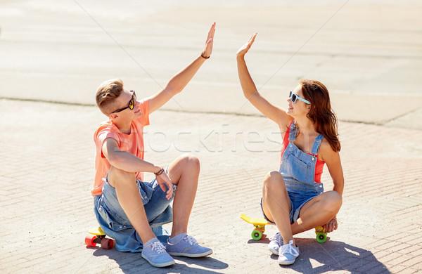 ストックフォト: 十代の · カップル · 街 · 夏 · 休日