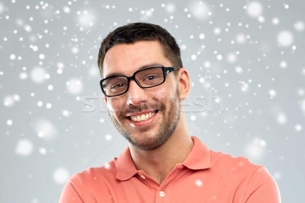幸せ 笑みを浮かべて 男 眼鏡 雪 ビジネスの方々 ストックフォト © dolgachov